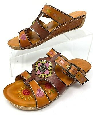 a02f02f40f0e L artisete Spring Step Womens Brown Leather Aztec Slip On Sandals EU 38 ...