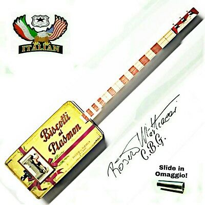 Biscotti Plasmon 3SP Cigar Box Guitar by Robert Matteacci's signature