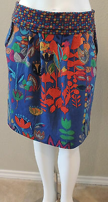 Funky People Artsy Boho Floral Stretch Knit Skirt - Plus 14/16 - New!
