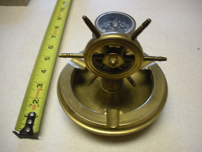 Vintage Brass Marine Ashtray With Ships Wheel And Built In Compass