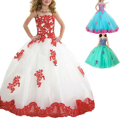 Girl Pageant Party Maxi Tulle Lace Ball Gown Wedding Evening Princess Prom Dress