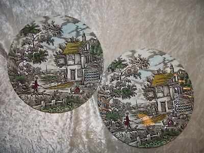 "Vintage pair Myott The Hunter 10"" Dinner Plates"
