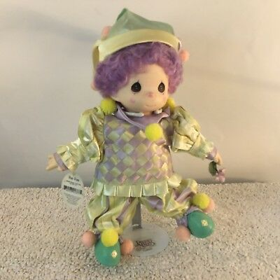 Precious Moments Pom Pom Clown Doll 1998 Porcelain Face Hands Feet Soft Body
