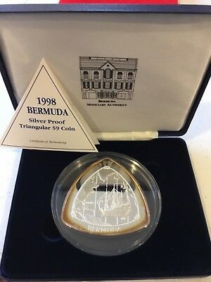 Bermuda 1998 Ship Map $9 - 5 Troy Ounces Triangular Silver Proof Coin
