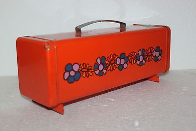 Vintage Brotkasten 70er Box für Toast Metall Dose Dutch Bread Flower Brabantia