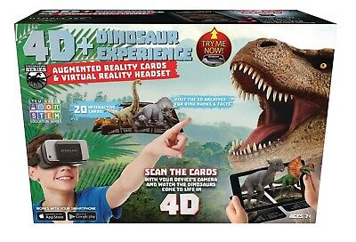 4D+ Dinosaur Experience Augmented Reality Cards + VR Virtual Reality Headset App