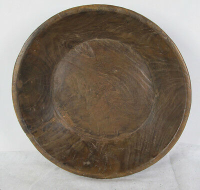 Antique Himalayan Folk Art Primitive Hand Carved Wooden Bowl Trencher Dish 3 yqz