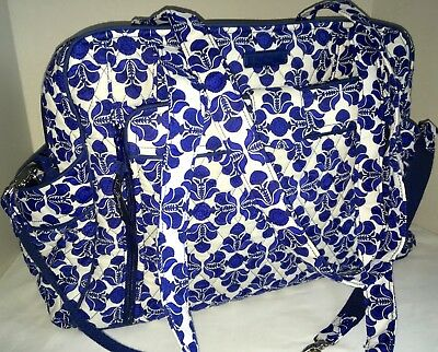 Vera Bradley Stroll Around Diaper Baby Bag Cobalt Blue Tile Pattern Summer 2016