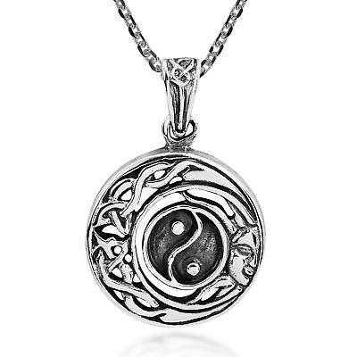 Celtic Half Moon and Sun Yin Yang Sterling Silver Necklace
