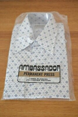 Vintage  Mens shirt Ambassador Size 16 1970s Brand new in packaging 5YLBT