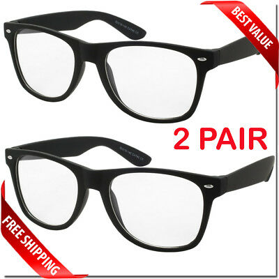 Nerd Style Clear Lens Glasses 2 Pair Mens Womens Fashion Retro Style Sunglasses