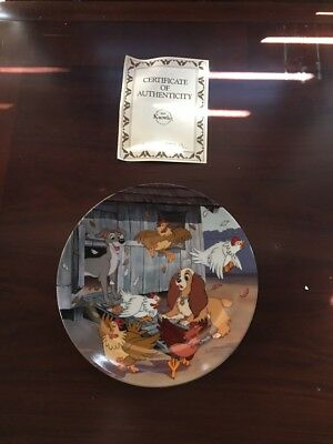 Disney Collector Plate Lady and the Tramp Series Ruff House 1993 COA