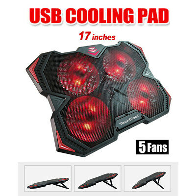 5 Fans USB Adjustable Laptop Stand Cooler Cooling Pad For HP Probook Macbook Pro
