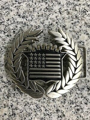 Famous Stars and Straps Belt Buckle Wreath Stars Flag Black Heavy Numbered