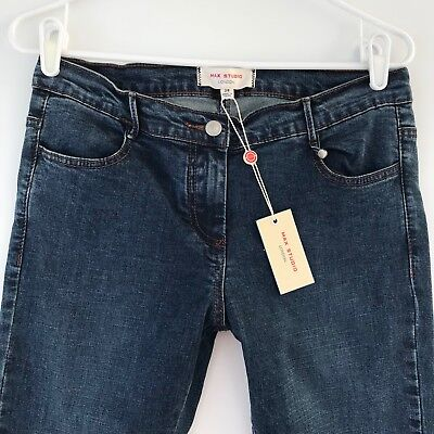 2ac76c15e53ca Max Studio London Womens Size 28 Jeans Mid Rise Skinny with Knee Seam Indigo