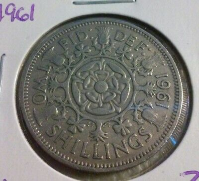 1961 GREAT  BRITAIN  2 Shillings Coin - KM#906    (#IN1758)