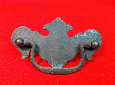 Vtg DRAWER PULL Bail Handle Chippendale Brass Plated Dresser Batwing Colonial