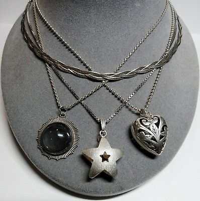 """4 PC Lot Sterling Silver Braided Star Heart Short 16"""" Chain Necklaces 39.1 Grams"""