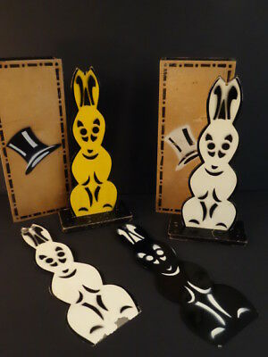 Antique Original Bunnies Changing Colors Magician Trick Gear Wood And Tin