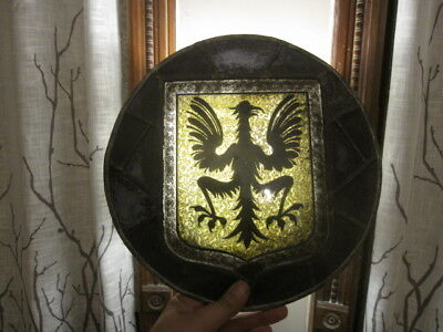 """ANTIQUE STAINED GLASS WINDOW GERMAN EAGLE COAT OF ARMS 12"""" circa 1860"""