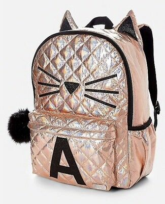 NWT JUSTICE Girls Quilted Gold Cat Full Size Backpack Intials E,H,M,K
