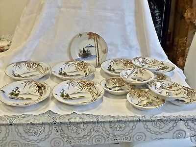 Wonderful Hand Decorated Antique Porcelain Kutani Soup & Cereal Bowls & Plate 14