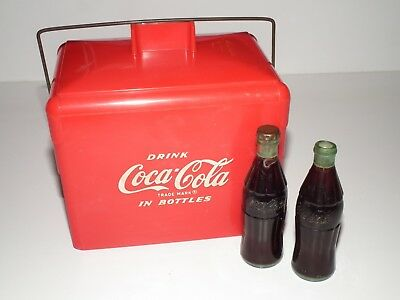 1950's miniature Coca-Cola plastic Picnic Cooler complete with 2 bottles