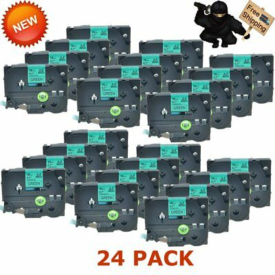 US 24 Pack TZ741 TZe741 Black on Green 18mm Label Tape For Brother P-touch