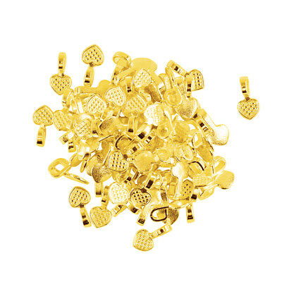 100Pcs Glue on Bails Pendant Hanger Gold Tone Heart Shape 16mm Making Crafts
