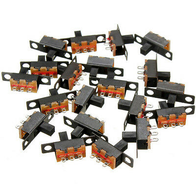 20 pcs Black Small Size SPDT Slide Switch On Off 3-Pin PCB 5V 0.3A BIN