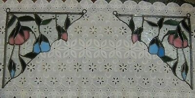 Pair Vintage Floral Stained Glass Window Swags With Hangers Pre-Owned Very Nice