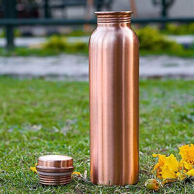 100% Pure Copper Traveler's Water Bottle Flask Thermos Health Benefit Ayurveda|