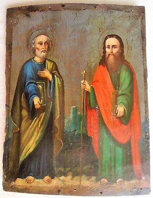 """Antique Russian Icon of """"St. Peter and St. Paul"""". 19th Century."""