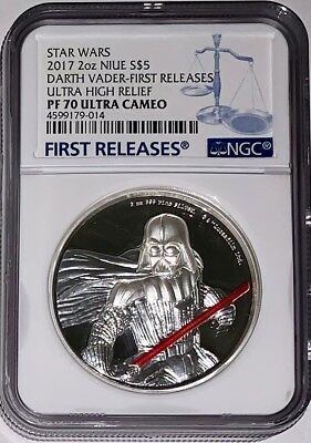 2017 Star Wars 2oz Niue S$5 Darth Vader First Releases PF70 UC W/Box COA UHR