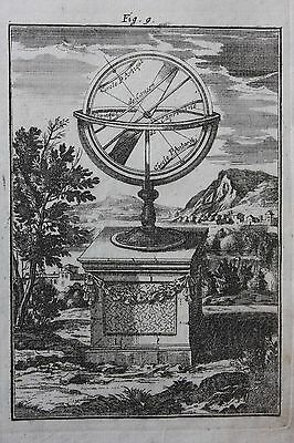 Original antique print, ARMILLARY SPHERE, Alain Manesson Mallet, 1719