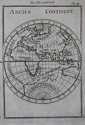 Original antique map EASTERN HEMISPHERE, EUROPE, ASIA, AFRICA,  Mallet c.1686
