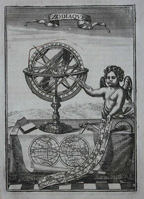 Original antique print ZODIAC, ARMILLARY SPHERE, WORLD MAP, A.M. Mallet, 1683