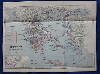 Original antique map GREECE, CRETE, ATHENS, PELOPONNESIAN WAR, Weller, 1877