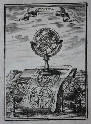 Original antique print ARMILLARY SPHERE, WORLD MAP, GLOBE, A.M. Mallet, 1683
