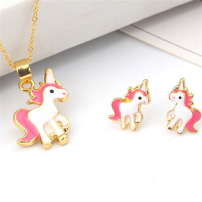 Childrens Kids Girls Pink Unicorn Necklace and Earring Set Brand New Jewellery