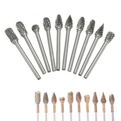 10x6mm Tungsten Head Carbide Burr Rotary Useful Drill Bit Set Carving Metal Wood