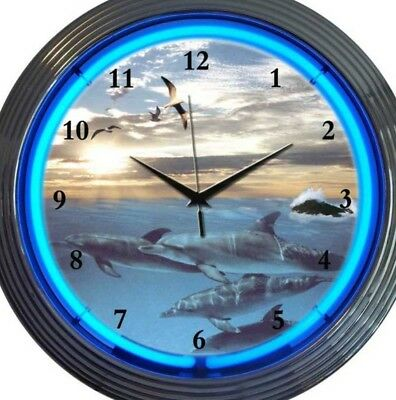 Dolphins Birds Water Scene Neon Clock 15 Inch Office Game Room Bar Garage Home