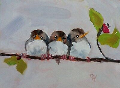 "Original Oil Painting~Bird Art~""Twos Company Three's a Crowd""~Frame Option"