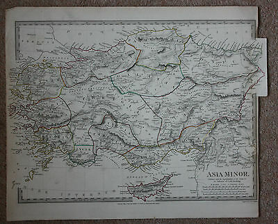 Original antique map, TURKEY, ASIA MINOR, CYPRUS, SDUK, 1830