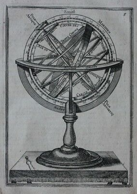 Original antique print ARMILLARY SPHERE, ASTRONOMICAL INSTRUMENT, Mallet, 1683