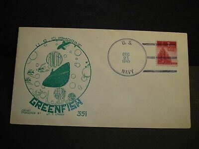 Submarine USS GREENFISH SS-351 Naval Cover 1945 SPADER Launch Cachet w/ picture
