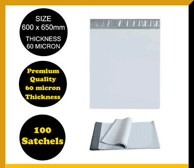 100 Poly Mailer 600x650mm Courier Plastic Bag Self Sealing Mailing Satchel