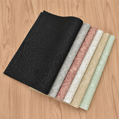 A4 Synthetic PU Leather Fabric Embossed Flower For DIY Bag Cloth Sewing Material