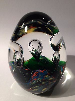 Egg Shaped Art Gl Paperweight Controlled Bubble 3 Tall