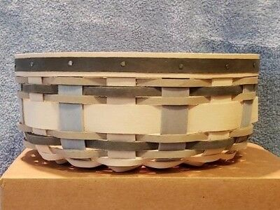 """Longaberger 2017 Winter Weave 7"""" Round Keeping basket and protector - NIH"""